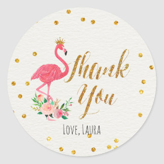 Tropical Flamingo Thank You Stickers