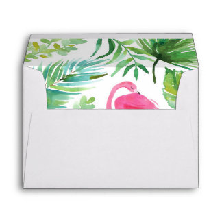 Tropical Flamingo Watercolor Envelope with Liner