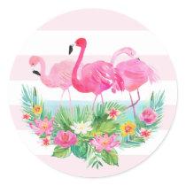Tropical Flamingo Watercolor Pink Favor Sticker