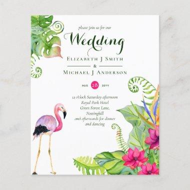 Tropical Flamingo Wedding Invites Fuchsia Ginger