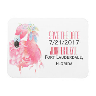 Tropical Flamingo Wedding Save The Date Magnet