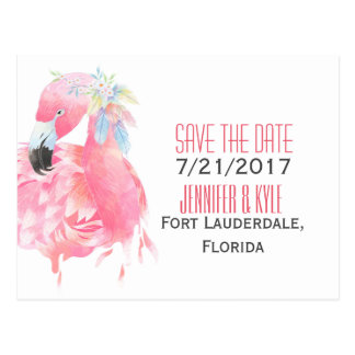 Tropical Flamingo Wedding Save The Date Postcard
