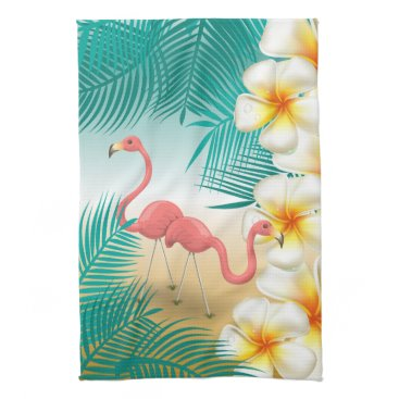 Beach Themed Tropical Flamingos Beach Paradise Kitchen Towel