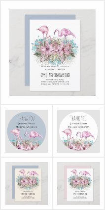 Tropical Flamingos Blue Pink Wedding Suite