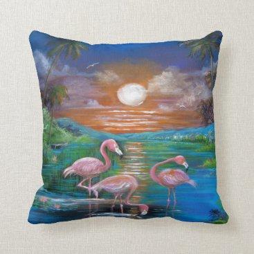 Beach Themed Tropical Flamingos BlueThrow Pillow