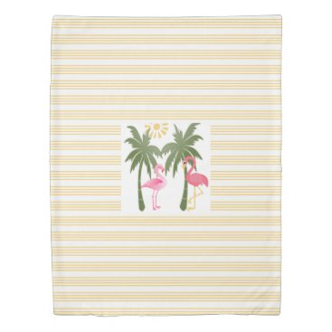 Beach Themed Tropical flamingos on yellow pinstripes duvet cover
