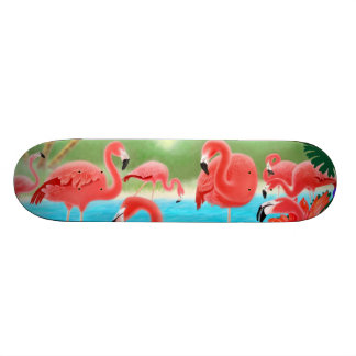 Tropical Flamingos Skateboard