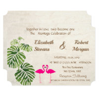 Tropical Flamingos  Wedding Invitation