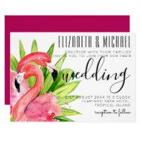Tropical Flamingos Wedding Invitation Modern