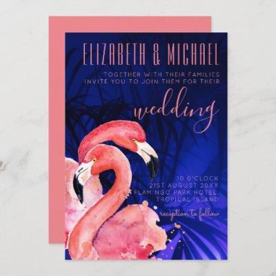 Tropical Flamingos Wedding Invitation Pink Blue