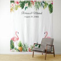 Tropical Flamingos Wedding Photo Booth Backdrop