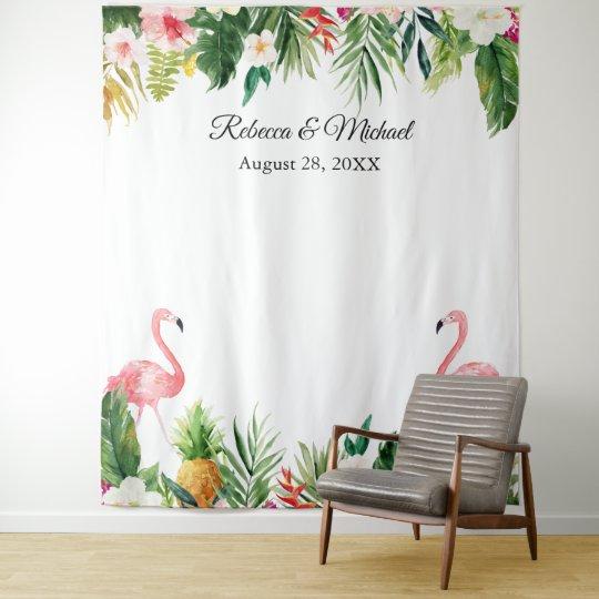 Wedding Photo Booth Backdrop: Tropical Flamingos Wedding Photo Booth Backdrop