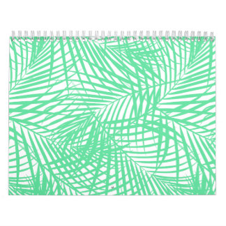 Tropical flat green leaves calendar
