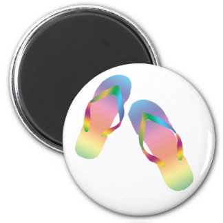 Tropical Flip Flops 1 2 Inch Round Magnet