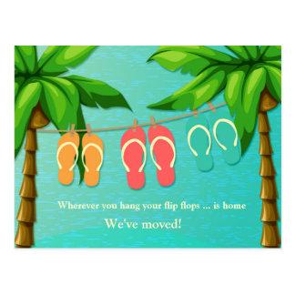 Tropical Flip Flops, New Address Postcard