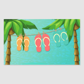Tropical Flip Flops Rectangle Stickers
