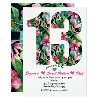 Tropical Floral 13 13th Birthday Party Invitation