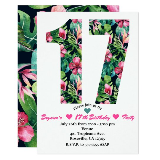 tropical floral 17 17th birthday party invitation zazzle com