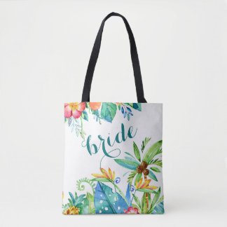 Tropical Floral 2-sided Custom Bride Tote Bag