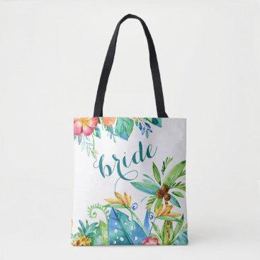 Tropical Floral 2-sided Custom Bride Tote Bag