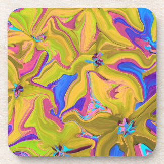 tropical floral abstract art coaster