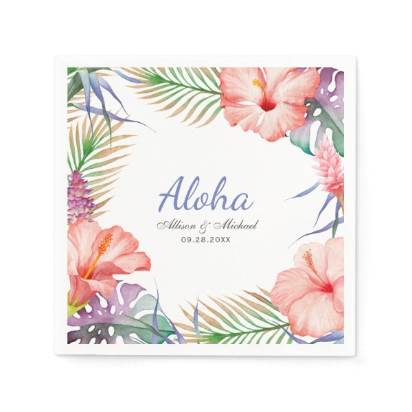 Tropical Floral Aloha Luau Style Napkin