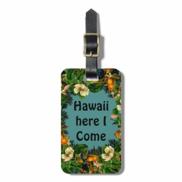 Beach Themed Tropical Floral Beach Vacation Baggage Quotes Bag Tag