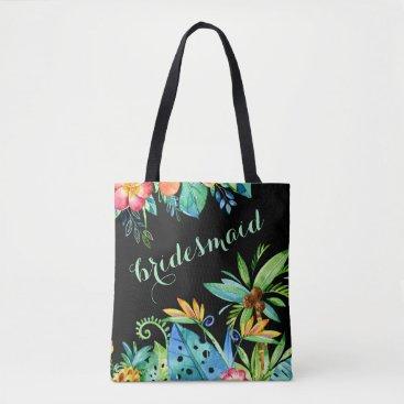 Beach Themed Tropical Floral Black 2-sided Custom Bridesmaid Tote Bag
