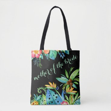 Beach Themed Tropical Floral Black Mother of the Bride Tote Bag