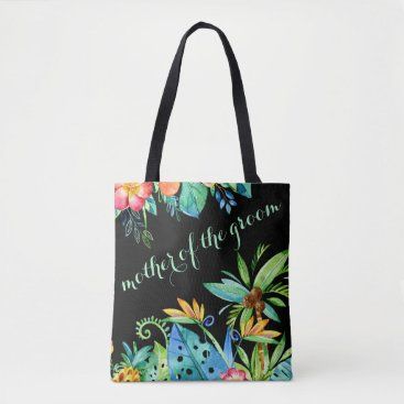 Beach Themed Tropical Floral Black Mother of the Groom Tote Bag