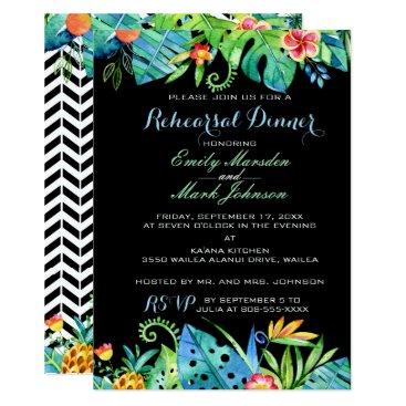 Beach Themed Tropical Floral Black Rehearsal Dinner Invitation