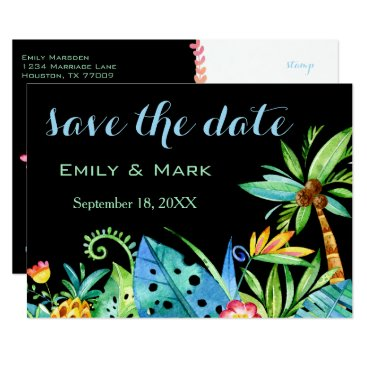 Beach Themed Tropical Floral Black Save The Date Card