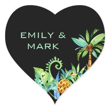 Beach Themed Tropical Floral Black Wedding Custom Heart Sticker