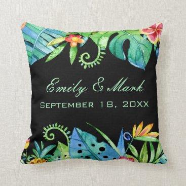 Beach Themed Tropical Floral Black Wedding Custom Throw Pillow