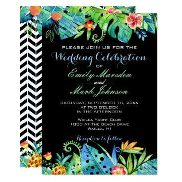 Beach Themed Tropical Floral Black Wedding Invitation
