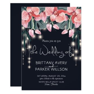 Tropical Floral Blue Wedding Invitation