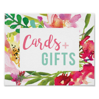 Tropical Floral Bridal Shower Cards and Gifts Sign