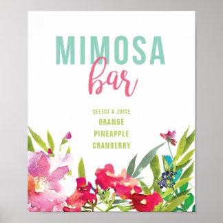 Tropical Floral Bridal Shower Mimosa Bar Sign