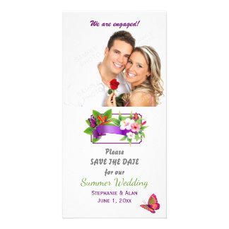 Tropical Floral Butterfly Save The Date Card