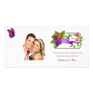 Tropical Floral Butterfly Wedding Card