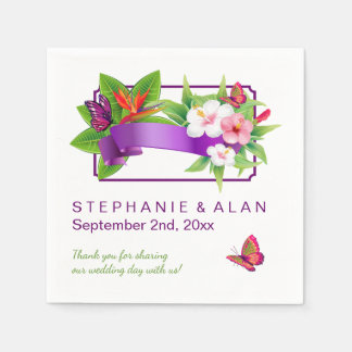 Tropical Floral Butterfly Wedding Napkin
