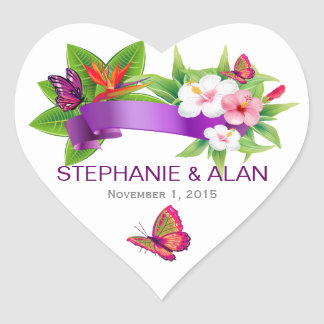 Tropical Floral Butterfly Wedding Stickers