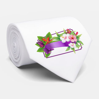 Tropical Floral Butterfly Wedding Tie