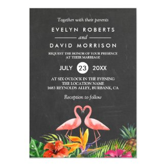Tropical Floral Chalkboard Flamingo Formal Wedding