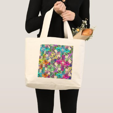 Beach Themed Tropical, floral, chevron print on natural tote