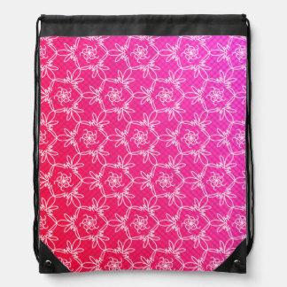Tropical Floral Drawstring Backpack - Pink