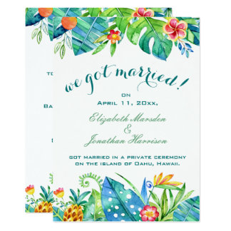 Tropical Floral Elegant We Got Married Reception Card