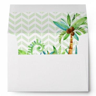 Beach Themed Tropical Floral Elegant Wedding Envelope