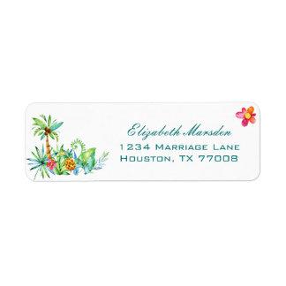 Tropical Floral Elegant Wedding Return Address Label