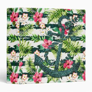 Tropical Floral Faux Glitter Anchor Nautical Binder